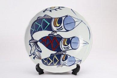 錦鯉のぼり布目八寸皿