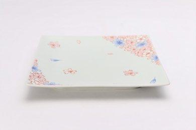 そうた窯 染錦渕桜 6寸正角皿