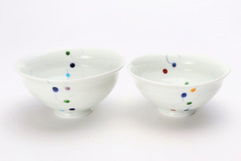 一峰窯 色珠(帯) ひねり飯碗 ペア 画像メイン