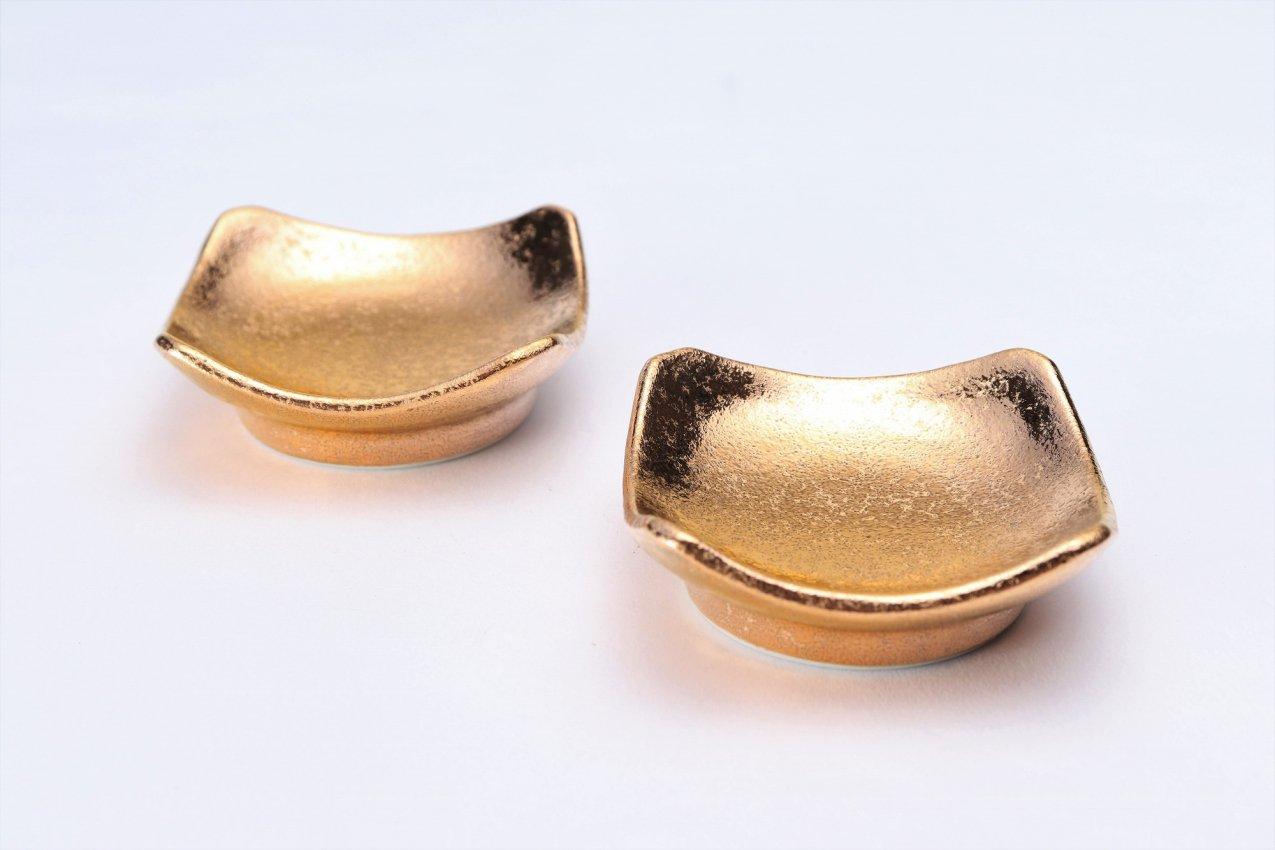 GOLDシリーズ 角姫小皿2個セット(化粧箱入り) 画像メイン
