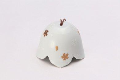 楽々シリーズ 錦白釉金彩桜絵 桔梗渕風鈴