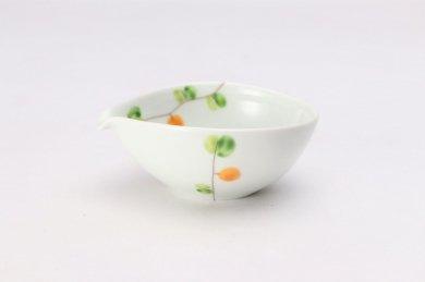 一峰窯 オリーブ(橙) 丸片口小付