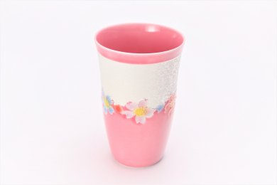 楽々シリーズ ピンク釉花つなぎラスター フリーカップ (化粧箱入り)