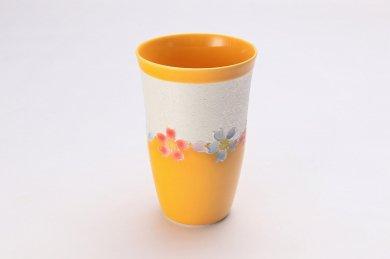 楽々シリーズ 黄釉花つなぎラスター フリーカップ (化粧箱入り)