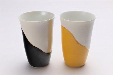 楽々シリーズ 黒釉パール・黄釉パール ペアフリーカップ (化粧箱入り)