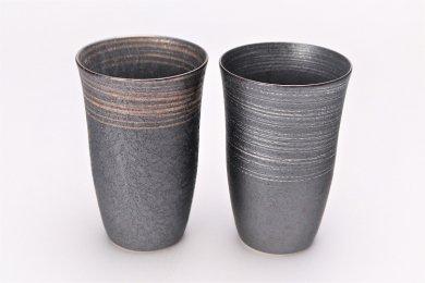 楽々シリーズ 晶金・晶銀かすり ペアフリーカップ (化粧箱入り)