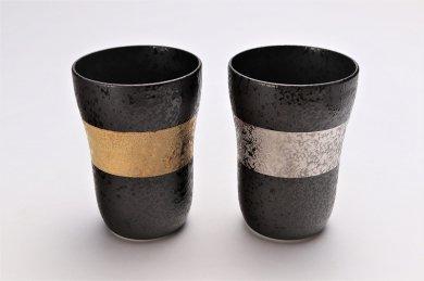 親峰窯 焼き締め金帯・銀帯 ペアフリーカップ