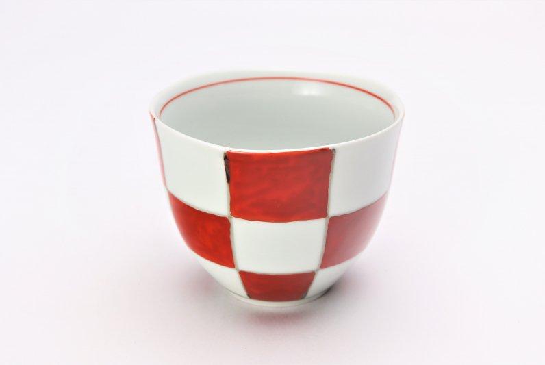 そうた窯 染錦赤市松 フリーカップ 画像メイン