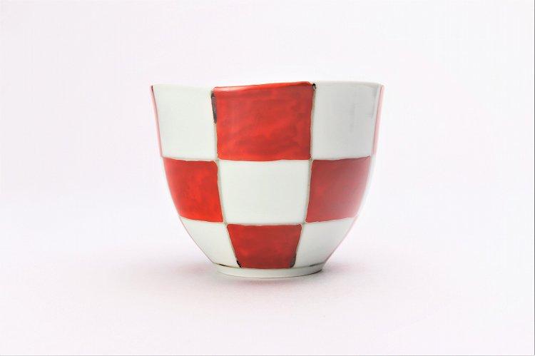 そうた窯 染錦赤市松 フリーカップ 画像サブ1