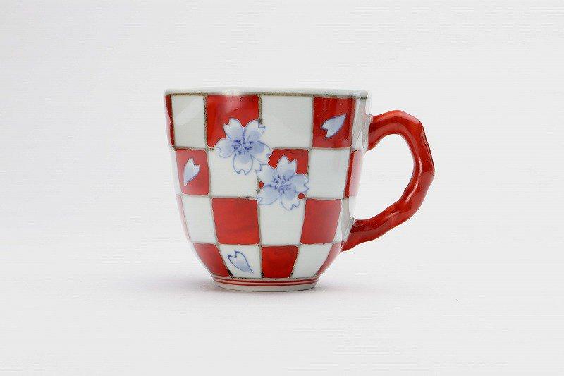 そうた窯 染錦赤市松桜 マグカップ 画像サブ1