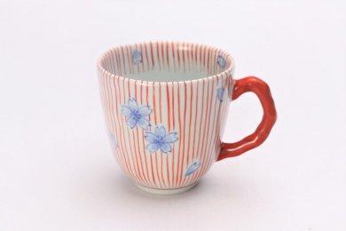 そうた窯 染錦赤十草桜 マグカップ