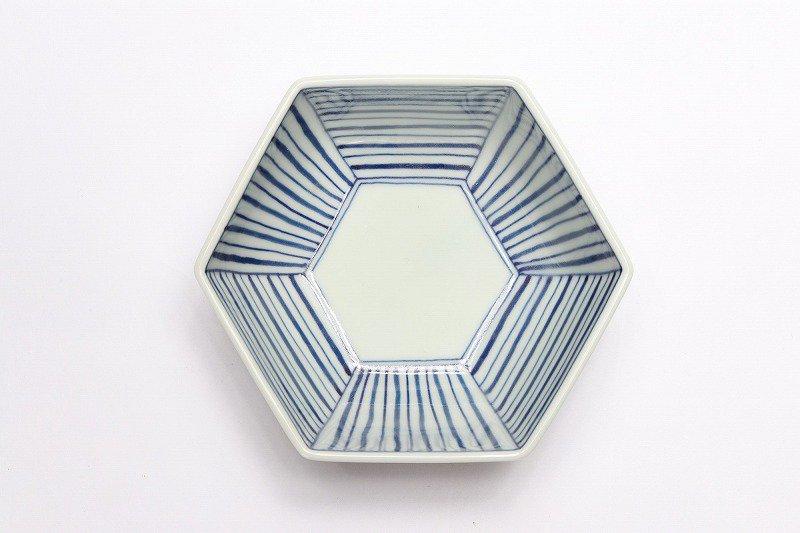 北川美宣窯 ストライプ六角小鉢 画像サブ2