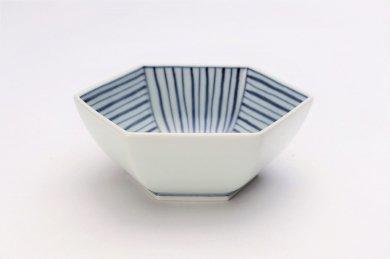 北川美宣窯 ストライプ六角小鉢
