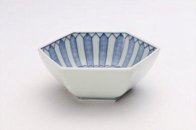 北川美宣窯 菊割紋六角小鉢