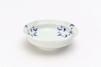皓洋窯 染付サビ唐草リーフ 四方なぶり小鉢