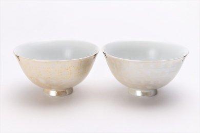 楽々シリーズ ラスターゴールド・シルバー ペア茶碗 (化粧箱入り)
