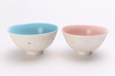 楽々シリーズ 色しずく(内ブルー・ピンク) ペア茶碗 (化粧箱入り)