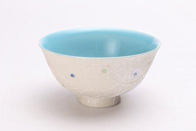 楽々シリーズ 色しずく(内ブルー) 茶碗 (化粧箱入り)