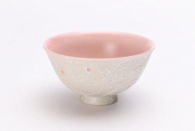 楽々シリーズ 色しずく(内ピンク) 茶碗 (化粧箱入り)