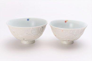 楽々シリーズ 色しずく ペア茶碗 (化粧箱入り)