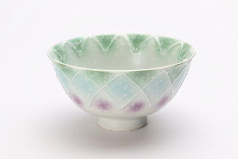 楽々シリーズ 三色ぼかし一珍(緑) 茶碗 (化粧箱入り) 画像メイン