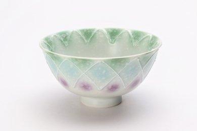 楽々シリーズ 三色ぼかし一珍(緑) 茶碗 (化粧箱入り)