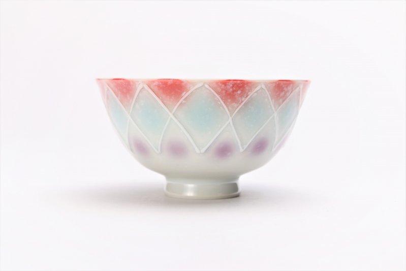 楽々シリーズ 三色ぼかし一珍(赤) 茶碗 (化粧箱入り) 画像サブ1