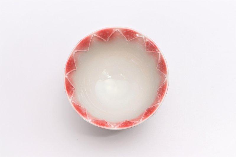 楽々シリーズ 三色ぼかし一珍(赤) 茶碗 (化粧箱入り) 画像サブ3