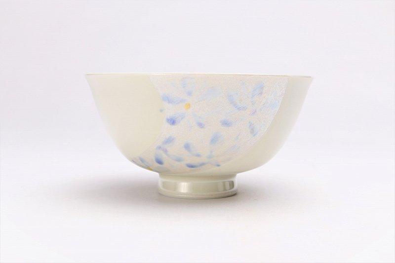 楽々シリーズ ラスター花絵(ブルー) 茶碗 (化粧箱入り) 画像サブ1