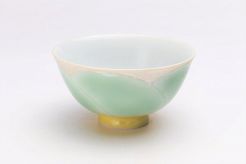 楽々シリーズ パールラスター花車(グリーン) 茶碗 (化粧箱入り) 画像メイン