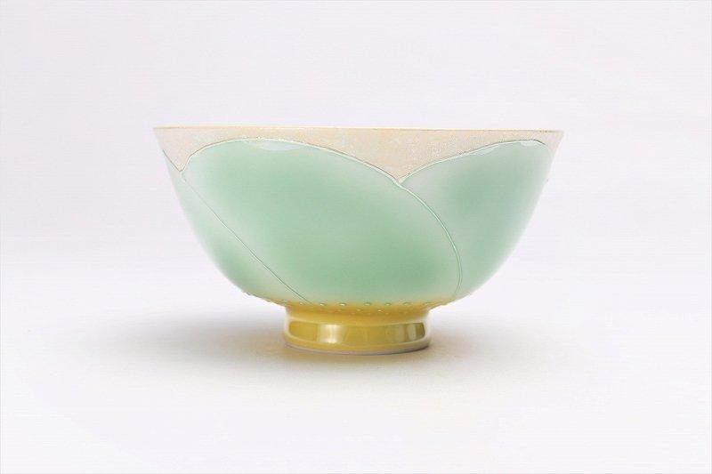 楽々シリーズ パールラスター花車(グリーン) 茶碗 (化粧箱入り) 画像サブ1