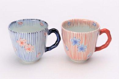 そうた窯 染錦十草桜 ペアマグカップ