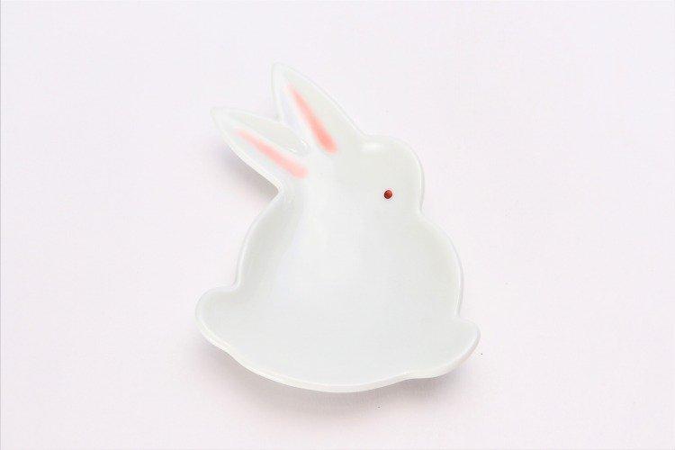 伝平窯 白マット紅耳(赤目) うさぎ型銘々皿 画像サブ2