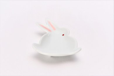 伝平窯 白マット紅耳(赤目) うさぎ豆小皿