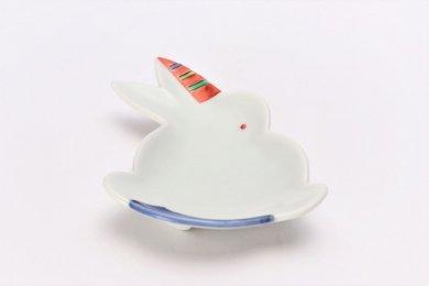 伝平窯 十草錦折布 うさぎ型銘々皿