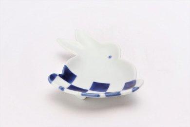 伝平窯 染市松 うさぎ型銘々皿