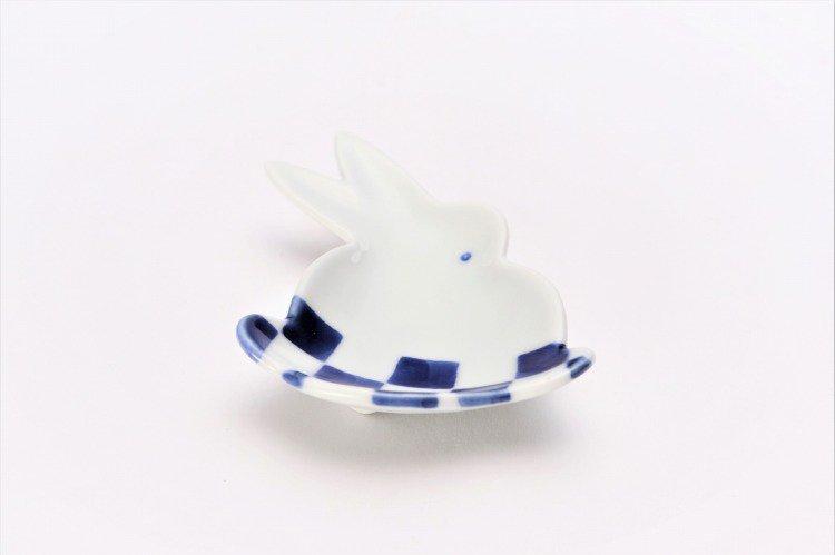 伝平窯 染市松 うさぎ豆小皿 画像メイン