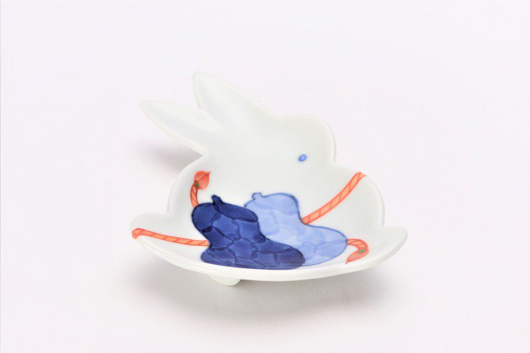 伝平窯 ひも結び瓢絵 うさぎ型銘々皿 画像メイン