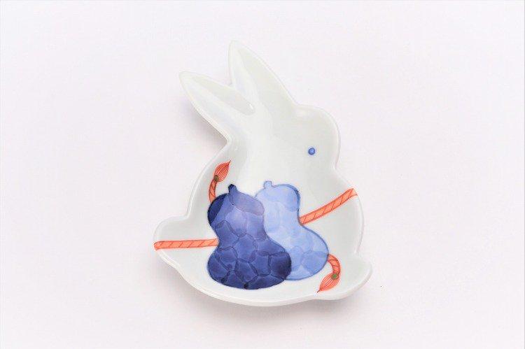 伝平窯 ひも結び瓢絵 うさぎ型銘々皿 画像サブ2