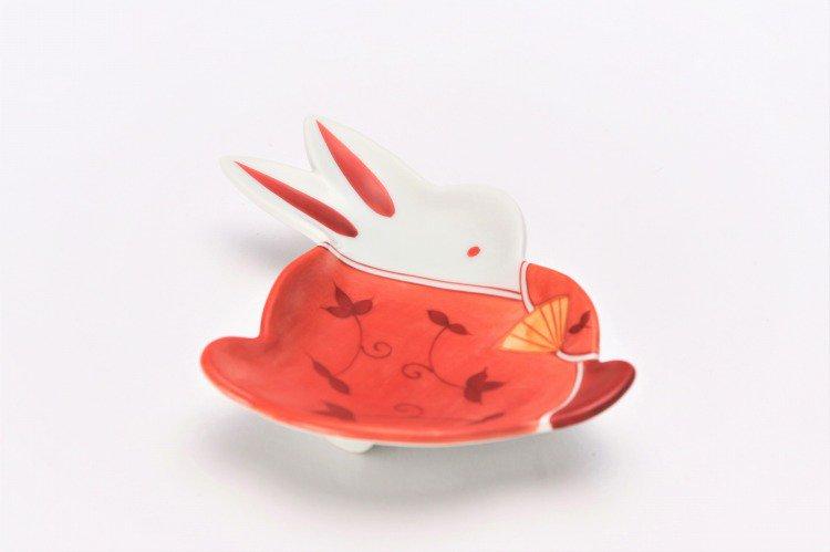 伝平窯 唐草女雛 うさぎ型銘々皿 画像メイン
