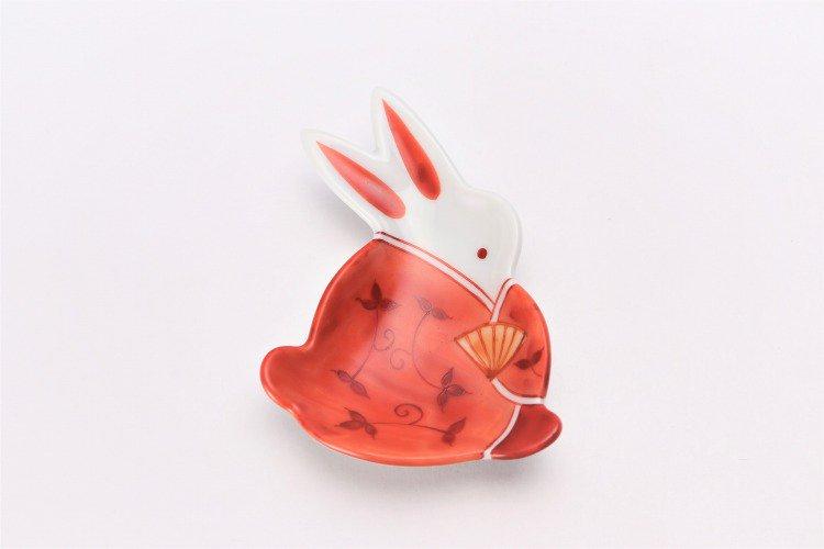 伝平窯 唐草女雛 うさぎ豆小皿 画像サブ2