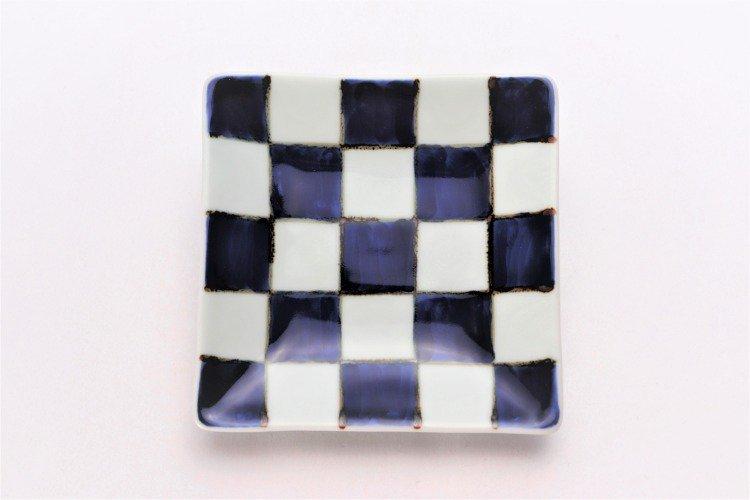 そうた窯 染付市松 正角皿(小) 画像サブ2