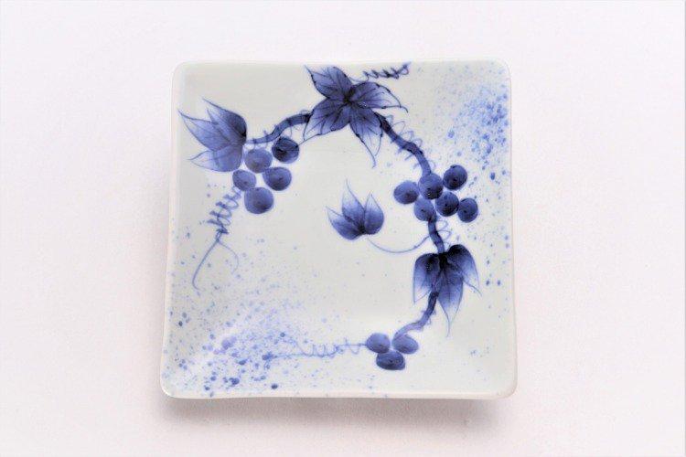 そうた窯 染付和ぶどう 正角皿(小) 画像サブ2