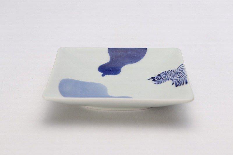 そうた窯 染付三方瓢絵 正角皿(小) 画像メイン