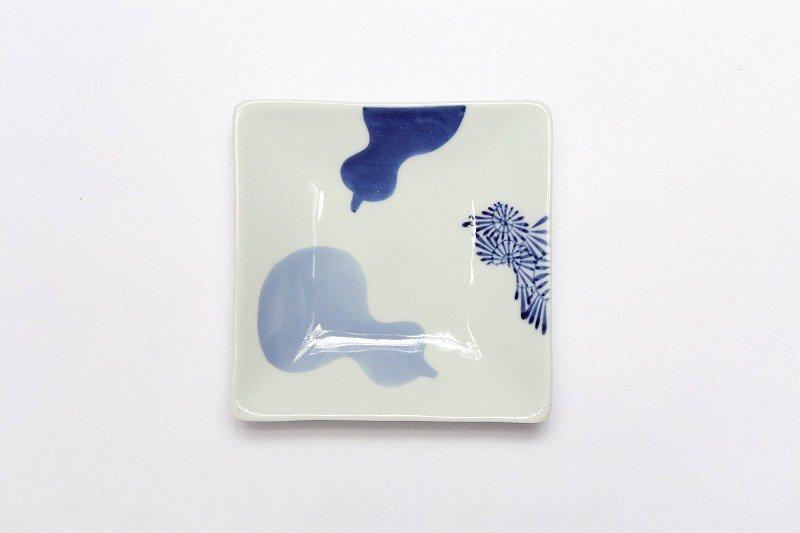 そうた窯 染付三方瓢絵 正角皿(小) 画像サブ1