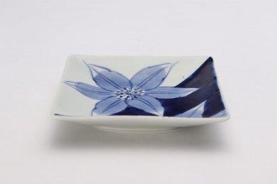 そうた窯 染付割花紋 正角皿(小)