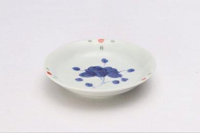 そうた窯 染錦見込牡丹 3.5寸深皿
