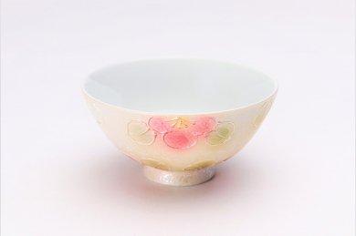 楽々シリーズ ラスター山茶花(赤) ミニ茶碗 (化粧箱入り)