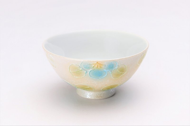 楽々シリーズ ラスター山茶花(青) ミニ茶碗 (化粧箱入り) 画像メイン