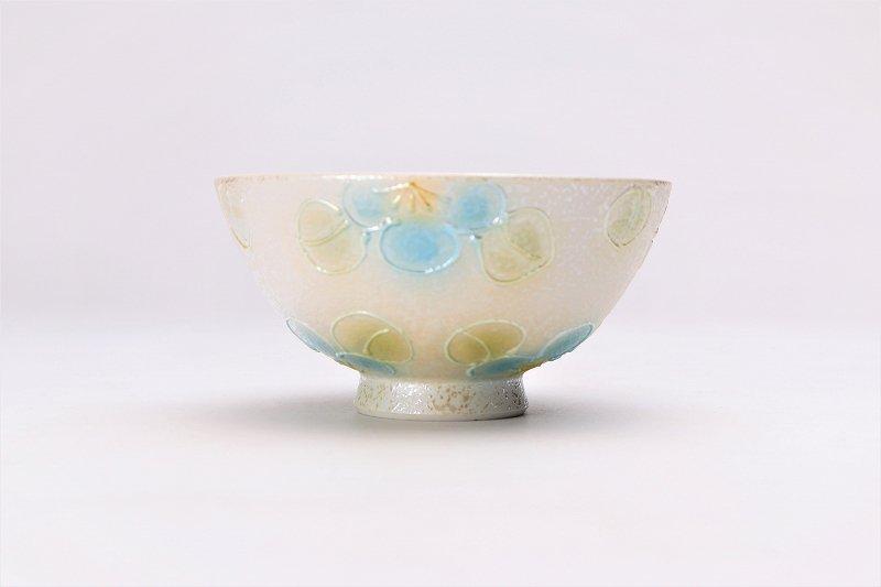 楽々シリーズ ラスター山茶花(青) ミニ茶碗 (化粧箱入り) 画像サブ1
